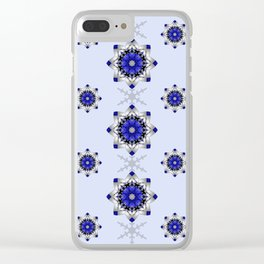 Magical snowflakes in blue, silver and grey Clear iPhone Case