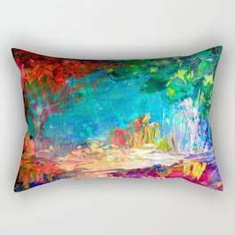 WELCOME TO UTOPIA Bold Rainbow Multicolor Abstract Painting Forest Nature Whimsical Fantasy Fine Art Rectangular Pillow