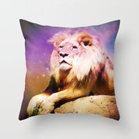 the lion king Throw Pillows featuring King Lion by SwanniePhotoArt