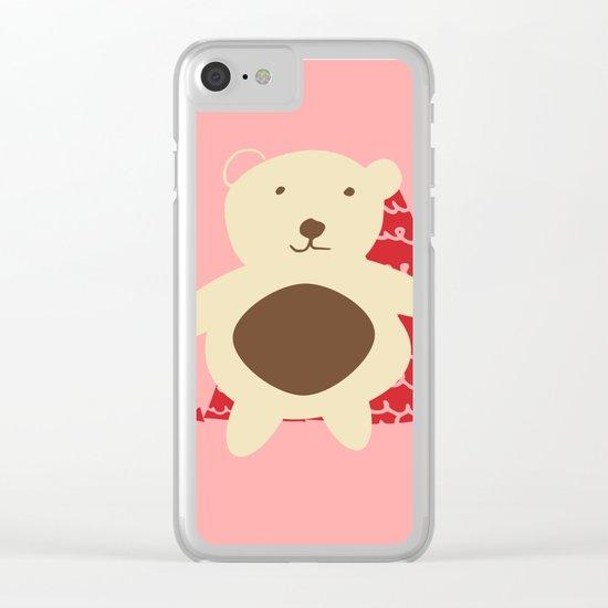 Christmas polar bear pink Clear iPhone Case