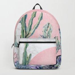 Desert Sun + Gemstones Rose Gold Marble Backpack