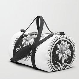 White flower Flor blanca Duffle Bag