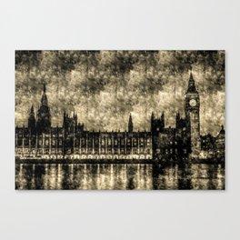 The Houses of Parliament London Vintage Canvas Print