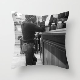 A cafe girl on her duty Black white photography Throw Pillow