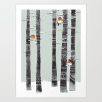 wallpaper Art Prints featuring Robin Trees by Sandra Dieckmann
