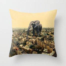 Urban Animal Elephant Throw Pillow