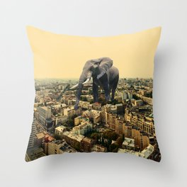 Urban Animal Elephant Throw Pillow