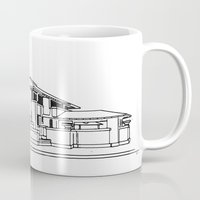 darwin Mugs featuring Darwin Martin House in Black & White by Gas Station Burrito