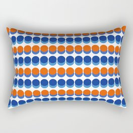 Vibrant Blue and Orange Dots Rectangular Pillow
