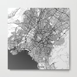 Athens Map Gray Metal Print