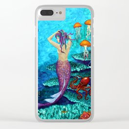 A Fish of a Different Color - Mermaid and seaturtle Clear iPhone Case