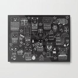 Funny animal on the chalkboard Metal Print