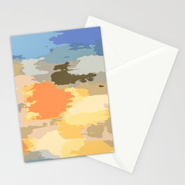 colorful painting abstract background in blue orange yellow pink and brown Stationery Cards
