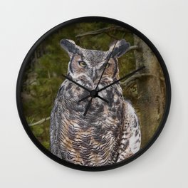 Portrait of a Great Horned Owl Wall Clock