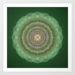 Blessing Mandala green - מנדלה ברכה ירוק Art Print