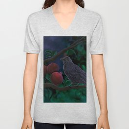 Crow perched on pomegranate tree branch Munin crow of Odin Unisex V-Neck
