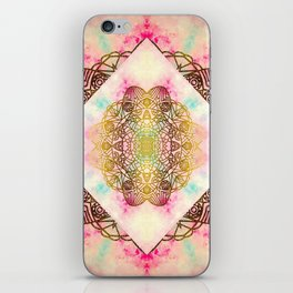 Vintage decorative Gold Turquoise Pink Pattern iPhone Skin