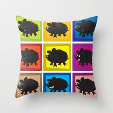 Pig in different moods Throw Pillow