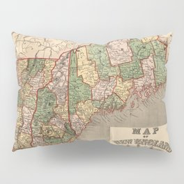 Map of New England 1847 Pillow Sham
