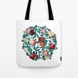 Vintage Roses Round Tote Bag