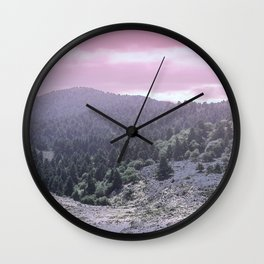 Pink Sunset on Mountains Wall Clock