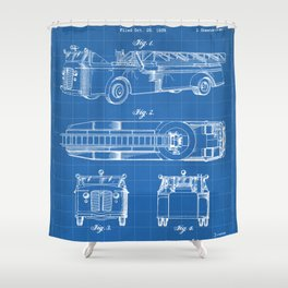 Fire Truck Patent - Aerial Fireman Truck Art - Blueprint Shower Curtain