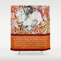 waldo Shower Curtains featuring Ralph Waldo Turkeyson by Canis Picta