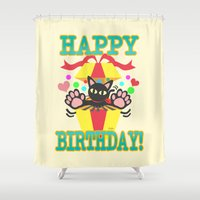 happy birthday Shower Curtains featuring Happy Birthday! by BATKEI
