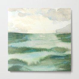 Emerald Sea Watercolor Print Metal Print