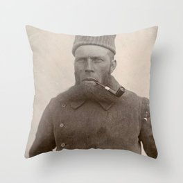 Bearded Ship Captain with Pipe - Vintage Photo Throw Pillow