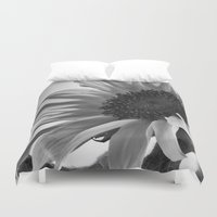 gemma correll Duvet Covers featuring Sunflower Black & White by 2sweet4words Designs