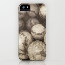 Bucket of Old Baseballs in Sepia iPhone Case