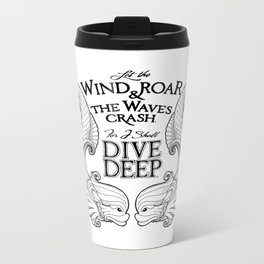 Dive Deep - Black and White Metal Travel Mug