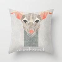 greyhound Throw Pillows featuring Greyhound  by Alice Maclean Smith