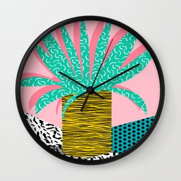 In the Mix - 80's neon house plant tropical garden container garden art print botanical natural  Wall Clock