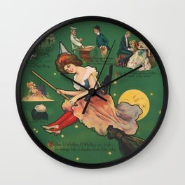 Vintage Witch on a Broomstick Illustration Wall Clock