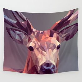 Colorful Polygons Abstract Deer Wall Tapestry