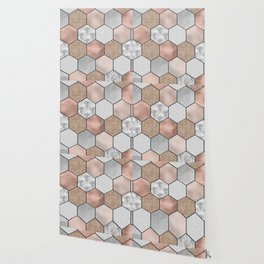 Marble hexagons and rose gold on black Wallpaper
