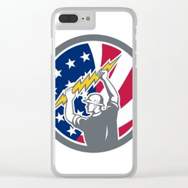 American Electrician USA Flag Icon Clear iPhone Case