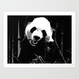 Cute Giant Panda Bear with tasty Bamboo Leaves Art Print