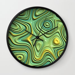 Yellow Lime Green Abstract 3D Swirl Waves Pattern Wall Clock