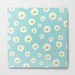 Daisy flower mint background Metal Print