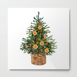 Watercolor Christmas Spruce Tree Metal Print