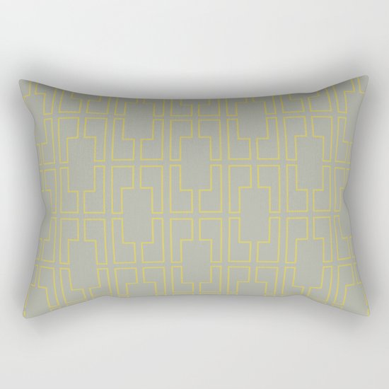 Simply Mid-Century Mod Yellow on Retro Gray Rectangular Pillow