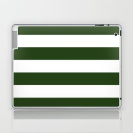 Large Dark Forest Green and White Cabana Tent Stripes Laptop & iPad Skin