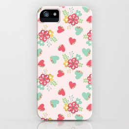 Pink and Blue Flowers and Hearts iPhone Case