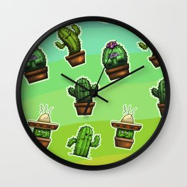Cute Cactus Wall Clock