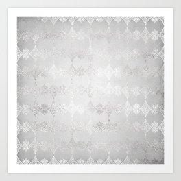 Metallic Silver Geometric Art Print