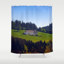 A farm, blue sky and some panorama | landscape photography Shower Curtain