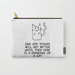 Here is the drawing of a cat Carry-All Pouch
